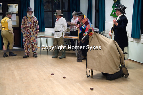 Hooden Horse Christmas play at St Nicholas-at-Wade, Thanet Kent 2014. Performance in village hall. Prompter in background.