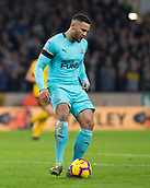 11th February 2019, Molineux, Wolverhampton, England; EPL Premier League football, Wolverhampton Wanderers versus Newcastle United; Jamaal Lascelles of Newcastle United passing the ball forward