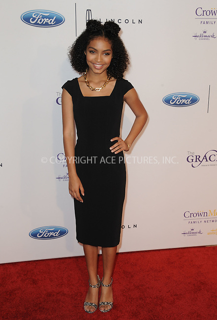 WWW.ACEPIXS.COM<br /> <br /> May 24 2016, LA<br /> <br /> Yara Shahidi arriving at the 41st Annual Gracie Awards at the Regent Beverly Wilshire Hotel on May 24, 2016 in Beverly Hills, California.<br /> <br /> By Line: Peter West/ACE Pictures<br /> <br /> <br /> ACE Pictures, Inc.<br /> tel: 646 769 0430<br /> Email: info@acepixs.com<br /> www.acepixs.com