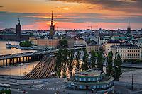 Utsikt över Slussen Gamla stan Stadshuset från Katarina hissen Stockholm 2006