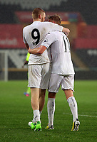 Pictured: (L-R) Oliver McBurnie of Swansea City with double goal scorer Adam King Monday 15 May 2017<br /> Re: Premier League Cup Final, Swansea City FC U23 v Reading U23 at the Liberty Stadium, Wales, UK
