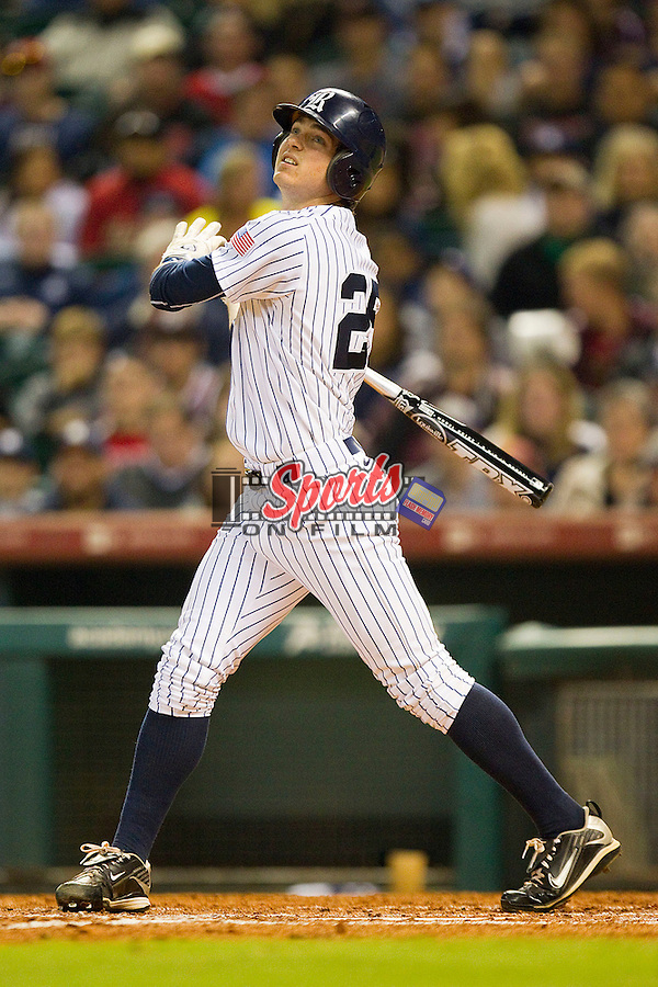 Chase McDowell #25 of the Rice Owls follows through on his swing against the Texas A&M Aggies at Minute Maid Park on March 5, 2011 in Houston, Texas.  Photo by Brian Westerholt / Four Seam Images