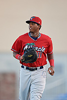 Fort Myers Miracle first baseman Lewin Diaz (11) jogs off the field during a game against the Dunedin Blue Jays on April 17, 2018 at Dunedin Stadium in Dunedin, Florida.  Dunedin defeated Fort Myers 5-2.  (Mike Janes/Four Seam Images)