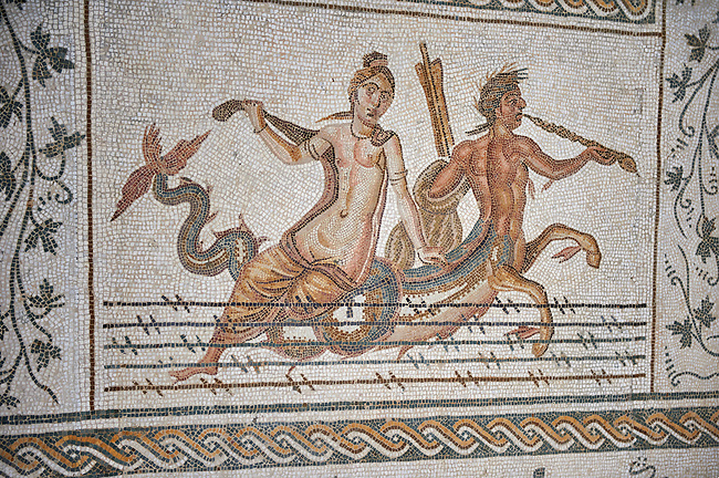 Picture of a Roman mosaics design depicting scenes from the Life of Dionysus, a scene with Ichthyocentaurs, fish tailed centaurs and Nereids, from the ancient Roman city of Thysdrus, House of Silenus. Late 2nd to early 3rd century AD. El Djem Archaeological Museum, El Djem, Tunisia.
