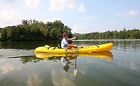 Kayaking on the rivanna river in Charlottesville, VA.