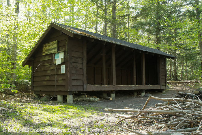 Rocky Branch Shelter #1 in the White Mountains of New Hampshire. This shelter is located along the Rocky Branch Trail. And it is an Adirondack style shelter that sleeps 12 hikers.