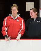 Jenelle Kohanchuk (BU - 19), Melissa David - The Northeastern University Huskies defeated the Boston University Terriers in a shootout after being tied at 4 following overtime in their Beanpot semi-final game on Tuesday, February 2, 2010 at the Bright Hockey Center in Cambridge, Massachusetts.