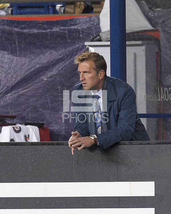 Real Salt Lake coach Jason Kreis. In a Major League Soccer (MLS) match, Real Salt Lake (white)defeated the New England Revolution (blue), 2-1, at Gillette Stadium on May 8, 2013.