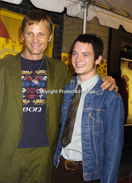 """Viggo Mortensen and Elijah Wood ..at The New York City Premiere of """" Everything Is Illuminated"""" on September 15, 2005 at the Landmark Sunshine Cinema. Liev Schreiber directed the movie and Elijah Wood stars in it. ..Photo by Roibn Platzer, Twin Images"""