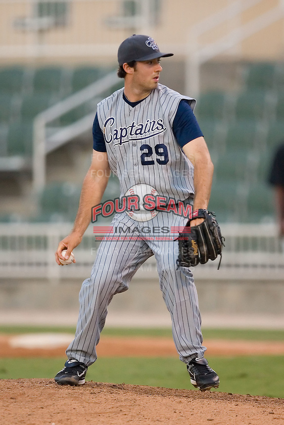 Relief pitcher Joseph Mahalic (29) of the Lake County Captains in action at Fieldcrest Cannon Stadium in Kannapolis, NC, Wednesday July 2, 2008. (Photo by Brian Westerholt / Four Seam Images)