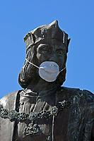 2020 04 14 Henry VII with a face mask Pembroke Castle, Wales, UK