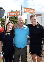 24-7-2014 Walkers Aislinn and Paul O'Leary, Douglas, Cork and Robert Clarke, Cork pictured in Caherdaniel, County Kerry as they head off on the Kerry Way Cancer research Walk on Friday.<br /> Photo: Don MacMonagle<br />  <br /> Now in its 10th year the Kerry Way Cancer Research Walk is a fundraising event that has gone from strength to strength contributing over &euro;600,000 to Cork Cancer Research Centre helping researchers to translate lab discoveries into new cancer treatment opportunities for poor prognosis and incurable cancers. The three day walk along the scenic Kerry Way takes walkers from Caherdaniel, along the Kenmare River and finishing in the Killarney area on Sunday.<br /> Photo Don MacMonagle<br /> <br /> Repro free photo from Kerry Cancer Research.