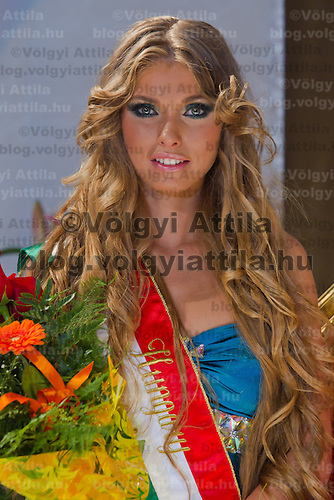 Ivett Venczlik placed second celebrates her victory during the Miss Hungary 2010 beauty contest held in Budapest, Hungary on November 29, 2010. ATTILA VOLGYI