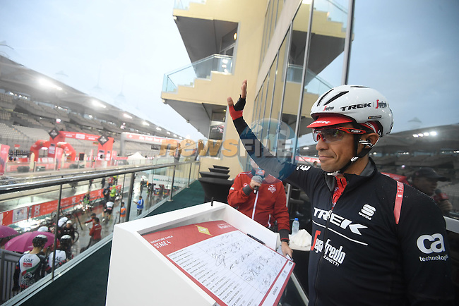 Alberto Contador (ESP) Trek-Segafredo at sign on before the the start of Stage 4 Yas Island Stage of the 2017 Abu Dhabi Tour, 143km with 26 laps of 5.5km of the Yas Marina Circuit, Abu Dhabi. 26th February 2017.<br /> Picture: ANSA/Claudio Peri | Newsfile<br /> <br /> <br /> All photos usage must carry mandatory copyright credit (&copy; Newsfile | ANSA)
