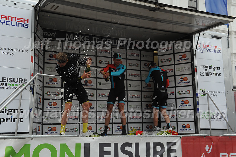 "Race winner Tom Stewart of the cycle racing team Madison Genesis opens the champagne on the rostrum after the Abergavenny Festival of Cycling ""Grand Prix of Wales"" race on Sunday 17th 2016<br /> <br /> <br /> Jeff Thomas Photography -  www.jaypics.photoshelter.com - <br /> e-mail swansea1001@hotmail.co.uk -<br /> Mob: 07837 386244 -"