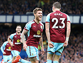 1st October 2017, Goodison Park, Liverpool, England; EPL Premier League Football, Everton versus Burnley; Jeff Hendrick of Burnley his  opening goal after 20 minutes with Stephen Ward of Burnley