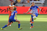 Houston, TX - Sunday Sept. 11, 2016: Louise Schillgard, Kristie Mewis during a regular season National Women's Soccer League (NWSL) match between the Houston Dash and the Boston Breakers at BBVA Compass Stadium.