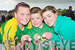 MEDALS: Norma O'Connor,Brian McElligott and Emma Doherty sho off their medals after they won the4m in the ioorelay race at the Caherslee/Rock Street Community Games, on Friday evening at Mounthawk Soccer grounds...