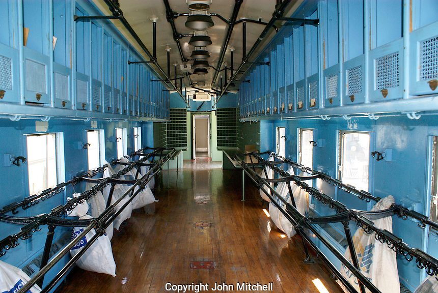 Interior of a mail car, Museo Nacional de los Ferrocarriles Mexicanos or National Railway Museum in the city of Puebla, Mexico