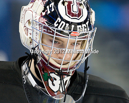 Colin Stevens (Union - 30) - The Union College Dutchmen practiced on Wednesday, April 4, 2012, during the 2012 Frozen Four at the Tampa Bay Times Forum in Tampa, Florida.