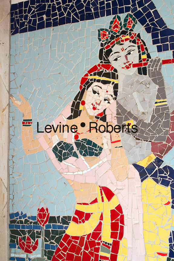 A mosaic on the wall of a store in the Jackson Heights neighborhood in Queens in New York on Sunday, October 14, 2012. The Jackson Heights neighborhood is home to a mosaic of ethnic groups beside Indians which include Pakistanis, Tibetans, Southeast Asian and long-time Jewish and Italian residents.  (© Richard B. Levine)