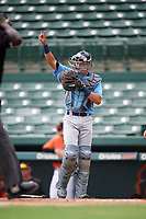 Tampa Bay Rays catcher Roberto Alvarez (91) signals two outs during an Instructional League game against the Baltimore Orioles on October 2, 2017 at Ed Smith Stadium in Sarasota, Florida.  (Mike Janes/Four Seam Images)