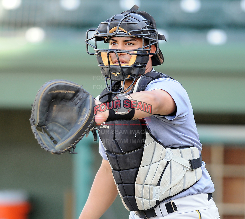 Catcher Ramon Cabrera (38) of the West Virginia Power, Class A affiliate of the Pittsburgh Pirates, at a game against the Greenville Drive April 29, 2010, at Fluor Field at the West End in Greenville, S.C. Photo by: Tom Priddy/Four Seam Images