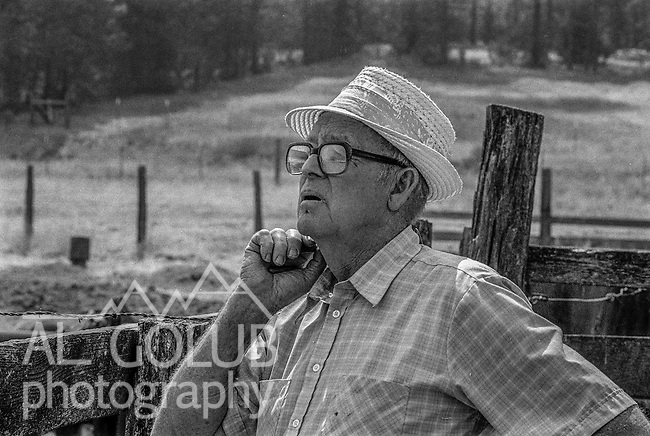 September 4, 1987 Greeley Hill, California -- Stanislaus Complex Fire  -- Local rancher waits for news about fire.  The Stanislaus Complex Fire consumed 28 structures and 145,980 acres.  One US Forest Service firefighter, David Ross Erickson, died from a tree-felling accident.