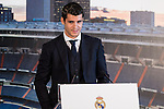 Real Madrid's Alvaro Morata during the presentation of the player at the Santiago Bernabeu Stadium. August 15, 2016. (ALTERPHOTOS/Rodrigo Jimenez)