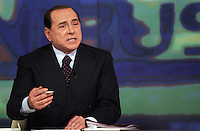 Il leader del Popolo della Liberta' Silvio Berlusconi parla durante la trasmissione Omnibus negli studi di La7 a Roma, 9 aprile 2008..Leader of the People of Freedom Silvio Berlusconi gestures as he speaks during the talk show 'Omnibus', broadcasted by LA7 television in Rome, 9 april 2008..UPDATE IMAGES PRESS/Riccardo De Luca