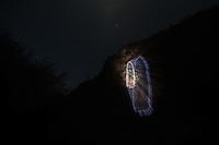 Imagen con lluminacion de la Virgen Maria o Virgen de Guadalupe en cerro del  rancho eco turístico El Peñasco en el pueblo Magdalena de Kino. Magdalena Sonora. (photo: Luis Gutierrez /NortePhoto.com)