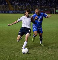Frankie Hejduk (2) battles Carlos Ayala (16) for the ball during FIFA World Cup qualifier against El Salvador. USA tied El Salvador 2-2 at Estadio Cuscatlán Stadium in El Salvador on March 28, 2009.
