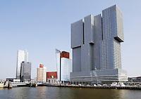 Nieuwbouw langs de Maas, in Rotterdam Zuid. Gebouw  De Rotterdam