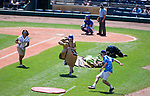 HARTFORD,  CT-071818JS11--Contestants compete in the &quot;Build a Burger&quot; competition between innings during the Yard Goat's game against Reading on Wednesday afternoon at Dunkin Donuts Park in Hartford.<br /> Jim Shannon Republican American
