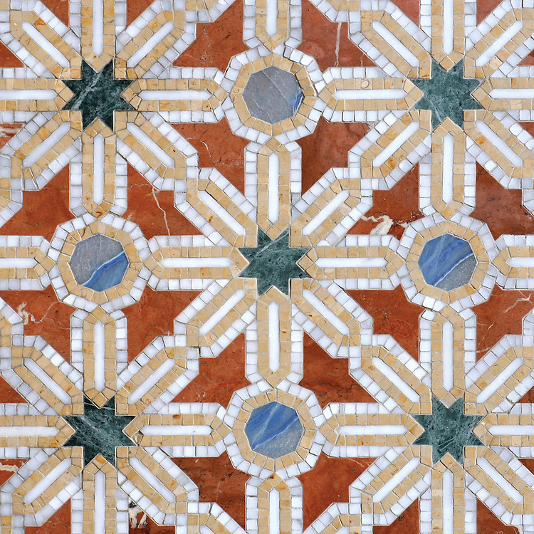 Alcazar, a waterjet and hand-cut stone mosaic, shown in polished Calacatta, Spring Green, Blue Macauba, Rojo Alicante, and Renaissance Bronze, is part of the Miraflores collection by Paul Schatz for New Ravenna.