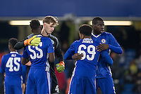 Kurt Zouma (right) of Chelsea with teammates before kick off during the The Checkatrade Trophy match between Chelsea U23 and Oxford United at Stamford Bridge, London, England on 8 November 2016. Photo by Andy Rowland.
