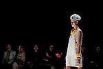 October 15, 2012, Tokyo, Japan - A model poses on the catwalk wearing ''matohu'' during Mercedes-Benz Fashion Week Tokyo 2013 Spring/Summer. The Mercedes-Benz Fashion Week Tokyo runs from October 13-20. (Photo by Yumeto Yamazaki/Nippon News)