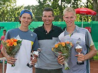 August 9, 2014, Netherlands, Rotterdam, TV Victoria, Tennis, National Junior Championships, NJK,  Prize giving, Richard Krajicek with Stephan Gerritsen(R) and Guus Koevermans, winners boys doubles 18 years<br /> Photo: Tennisimages/Henk Koster