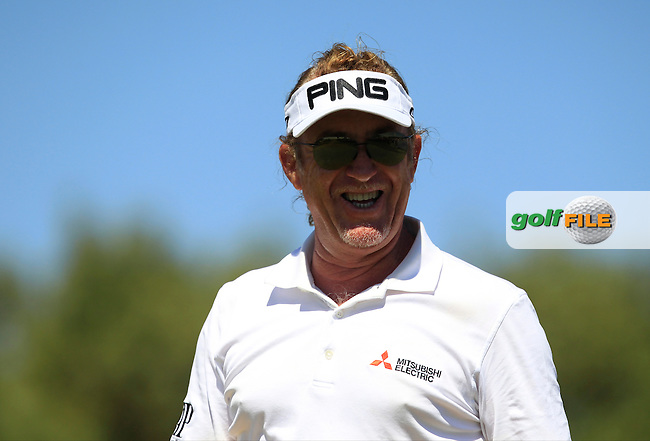 Miguel Angel Jimenez (ESP) on the 1st tee during Round 4 of the Open de Espana  in Club de Golf el Prat, Barcelona on Sunday 17th May 2015.<br /> Picture:  Thos Caffrey / www.golffile.ie
