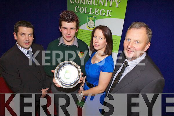 Student of the year, Timmy McCarthy, at the Tralee Community College awards on Friday. Pictured from left: school principal Brian Harkin,  Timmy McCarthy, teacher Myra Egan and Community Liaison Officer John Joe Roche.