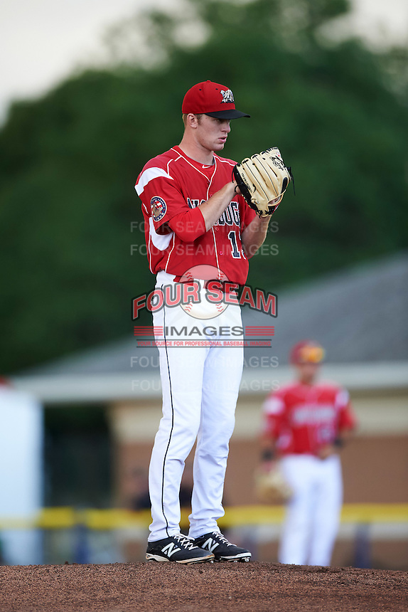 Batavia Muckdogs starting pitcher Travis Neubeck (13) during a game against the Aberdeen Ironbirds on July 15, 2016 at Dwyer Stadium in Batavia, New York.  Aberdeen defeated Batavia 4-2. (Mike Janes/Four Seam Images)
