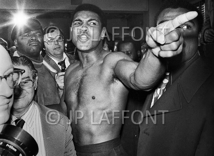Manhattan, New York CIty, NY. January 23rd, 1974.<br /> Muhammad Ali pointing his finger during the weigh-in process, before the second boxing match between him and Joe Frazier.  <br /> Ali won the fight by unanimous decision, regaining the title.