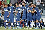 Getafe's players celebrate goal during La Liga match.September 18,2015. (ALTERPHOTOS/Acero)