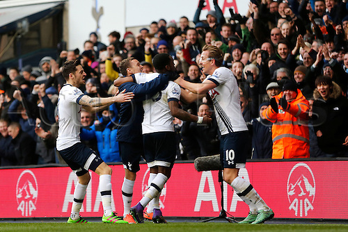 28.02.2016. White Hart Lane, London, England. Barclays Premier League. Tottenham Hotspur versus Swansea City. Danny Rose of Tottenham Hotspur celebrates his goal with teammates Harry Kane, Ryan Mason and substitute Kieran Trippier during the Barclays Premier League match between Tottenham Hotspur and Swansea City.