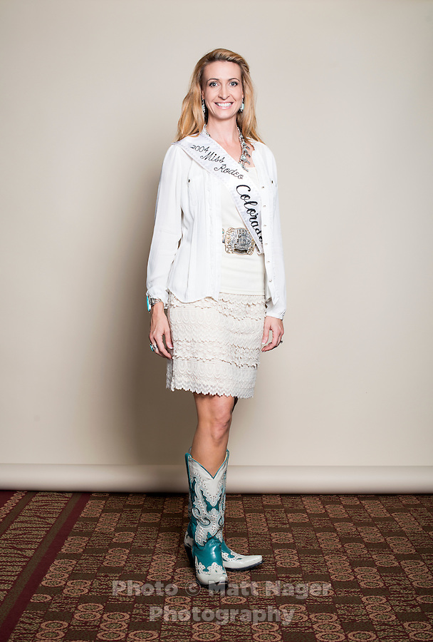 1997 winner of the Miss Rodeo Queen Colorado competition Stacy Reid Bandock at the 2016 Miss Rodeo Colorado competition during the Greely Stampede in Greely, Colorado, July 3, 2015.<br /> <br /> Photo by Matt Nager