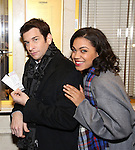 """Andy Karl and Barrett Doss visit the """"Groundhog Day'' opening day box office at The August Wilson Theatre on February 2, 2017 in New York City."""