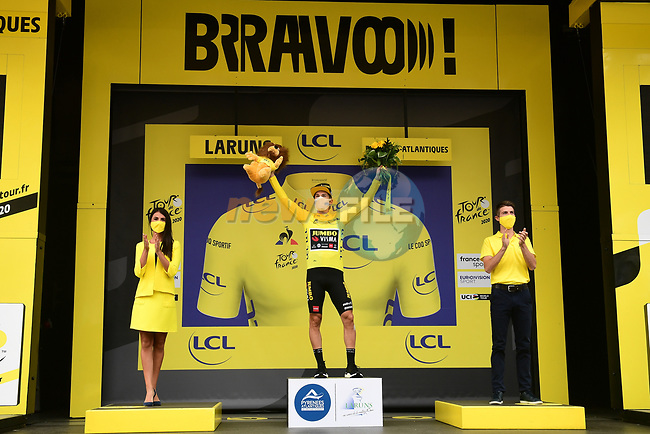New race leader Primoz Roglic (SLO) Team Jumbo-Visma in the Yellow Jersey at the end of Stage 9 of Tour de France 2020, running 153km from Pau to Laruns, France. 6th September 2020. <br /> Picture: ASO/Alex Broadway | Cyclefile<br /> All photos usage must carry mandatory copyright credit (© Cyclefile | ASO/Alex Broadway)