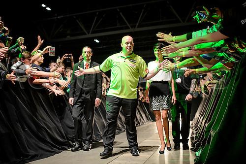 21.06.2015. Riesa, Germany. Michael van Gerwen from Holland during the Internation Darts Open in Riesa Germany, 21 June 2015