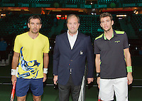 10-02-14, Netherlands,Rotterdam,Ahoy, ABNAMROWTT,, , Paul-Henri Mathieu(FRA) and Ivan Dodig(CRO)<br /> Photo:Tennisimages/Henk Koster