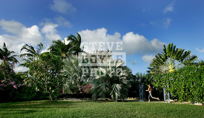 Kristen Mandish (model released) runs at Queen Elizabeth II Botanic Park in the Cayman Islands on January 21, 2007.